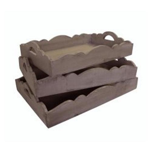 Scalloped Wooden Nesting Trays, Grey Wash