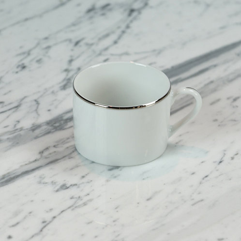 White with Silver Coffee Cup