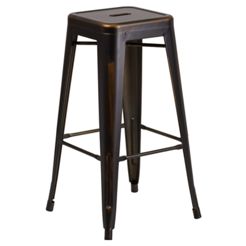 Backless Square Copper Barstool