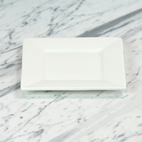 White Square Bread and Butter Plate