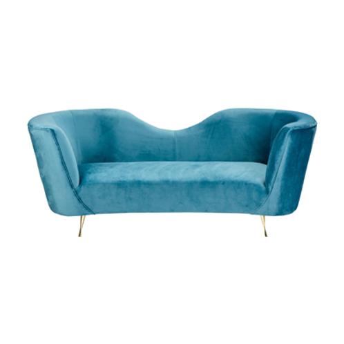 Greta Couch in Ocean Velvet