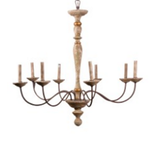 Burnes Driftwood and Iron Chandelier