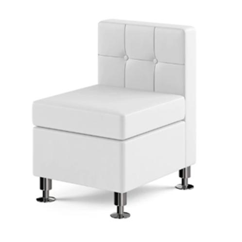 Modular White Leather Armless