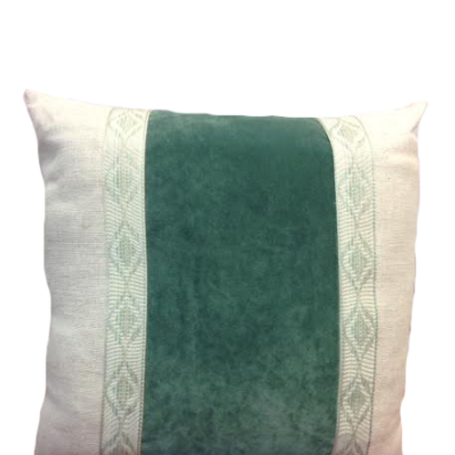 Jade Velvet with Linen Stripe and Trim