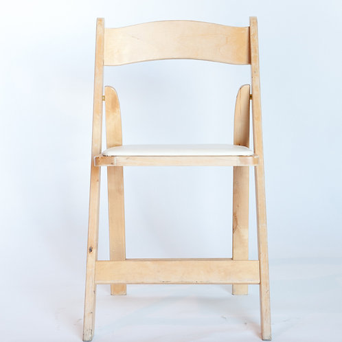 Natural Light Wood Padded Folding Chair