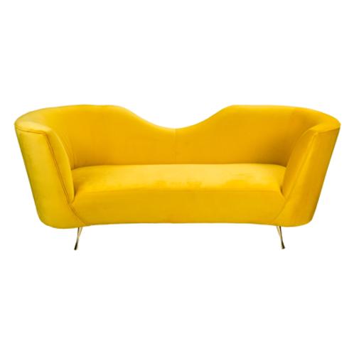 Greta Couch in Mustard Velvet