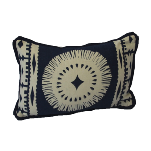 Navy Aztec Lumbar Pillow