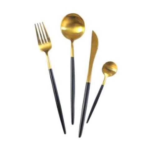 Brushed Gold & Black Flatware