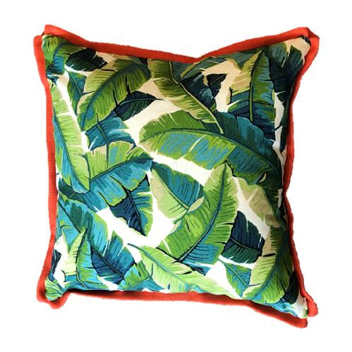 Tropical Havana Pillow with Orange Trim