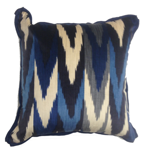 Indigo Ikat Velvet Pillow