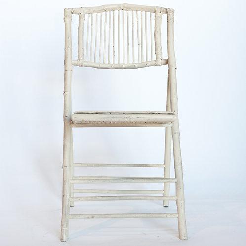 White Bamboo Folding Chair