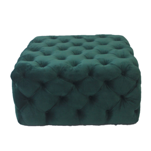 Square Ottoman in Emerald Velvet