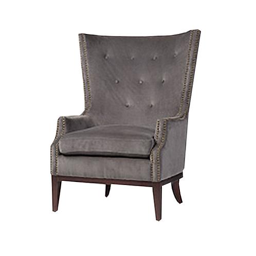 Grey Velvet Tufted Wingback Chair