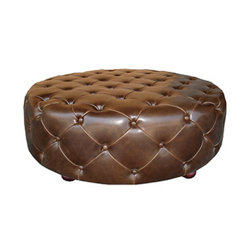 Harrison Leather Tufted Ottoman