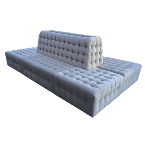 Tufted Velvet Banquette in Taupe