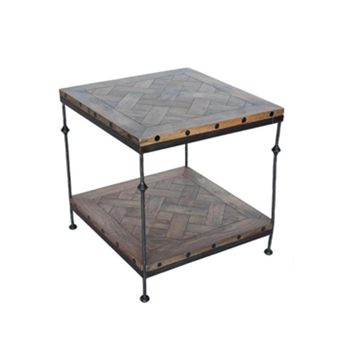 Parquet and Iron End Table
