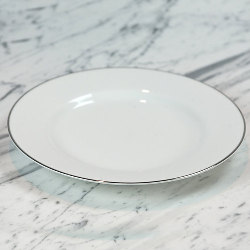 White with Silver Dinner Plate