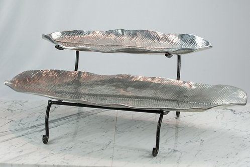 Pewter Banana Leaf Set with Stand