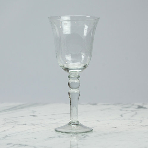 Etched Glass Wine Glass