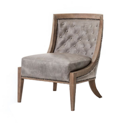 Wester Occasional Chair in Grey Leather