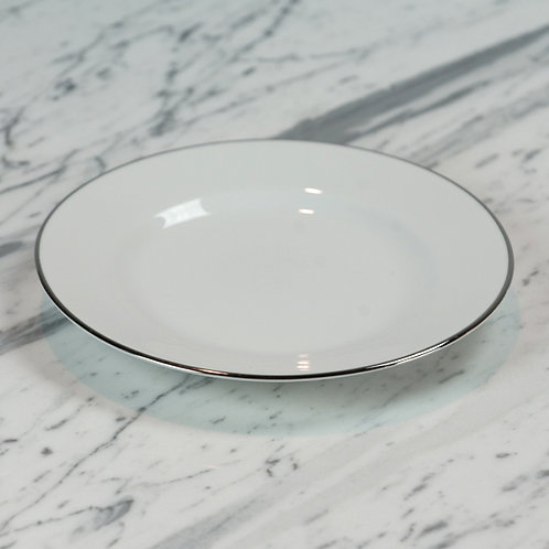 White with Silver Salad Plate