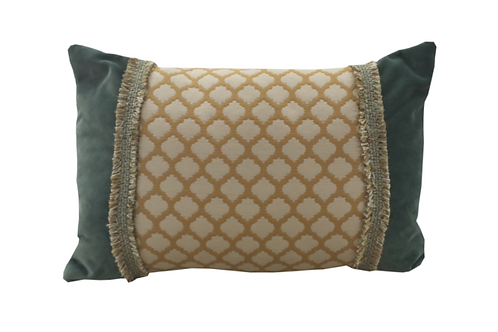 Jade Velvet with Saffron Mosaic Lumbar Pillow