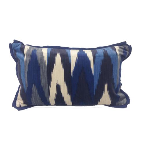 Indigo Ikat Lumbar Pillow