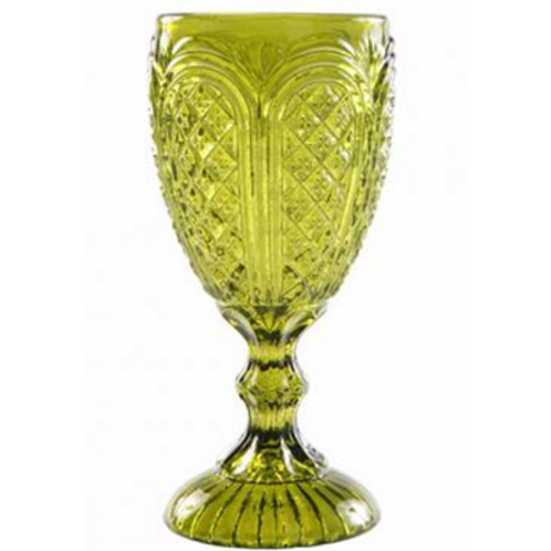 Carousel Olive Green Water Goblet