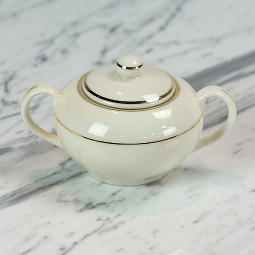 Ivory with Double Gold Band Sugar Bowl