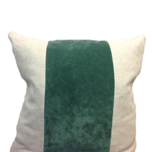 Jade Velvet with Linen Stripe