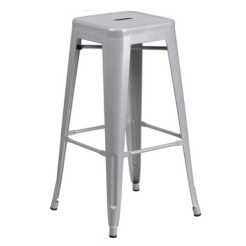 Backless Square Silver Barstool