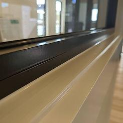 white silicone around window