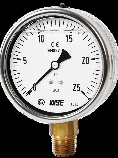 Đồng hồ áp suất (dầu) WISE P259 (vỏ inox chân đồng)