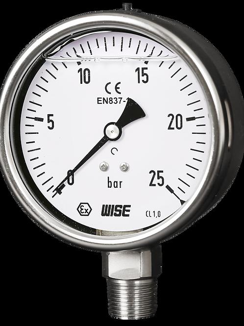 Đồng hồ áp suất (dầu) WISE P258 (inox toàn bộ, chuẩn CE Châu Âu)