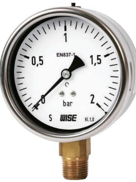 Đồng hồ áp suất WISE P253 (vỏ inox chân đồng, chuẩn CE Châu Âu)