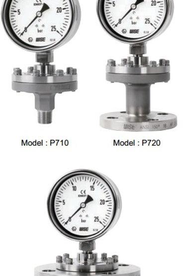 Đồng hồ áp suất màng WISE P710, 720, 730 (inox toàn bộ, chuẩn CE)
