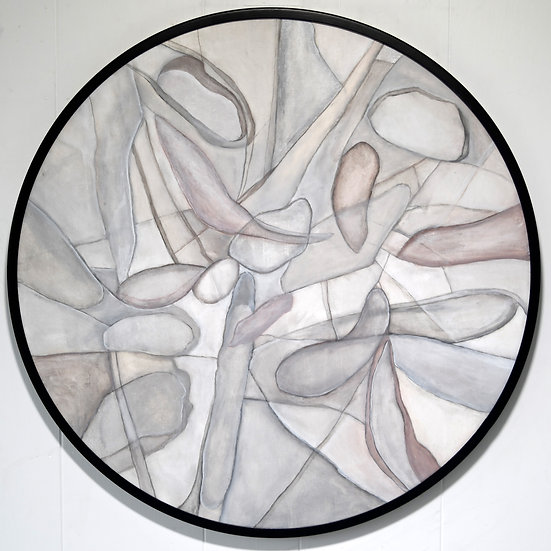 Pebbles in Round Metal Frame