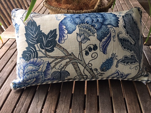 Blue Floral Cushion Cover
