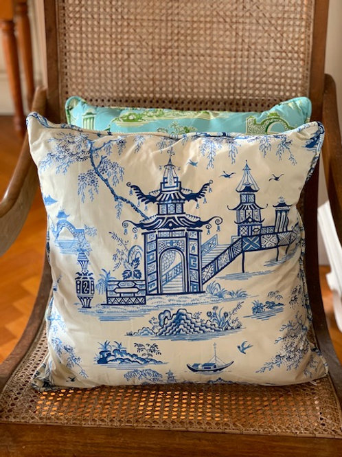 Teahouse Temple (blue & white)- Cushion Cover
