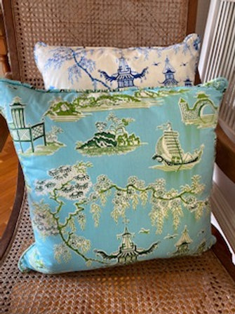 Teahouse Temple (aqua & green)- Cushion Cover