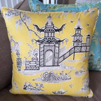 Teahouse Temple (yellow & grey)- Cushion Cover