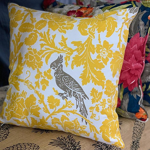 Yellow Damask with Brown Bird - Cushion Cover