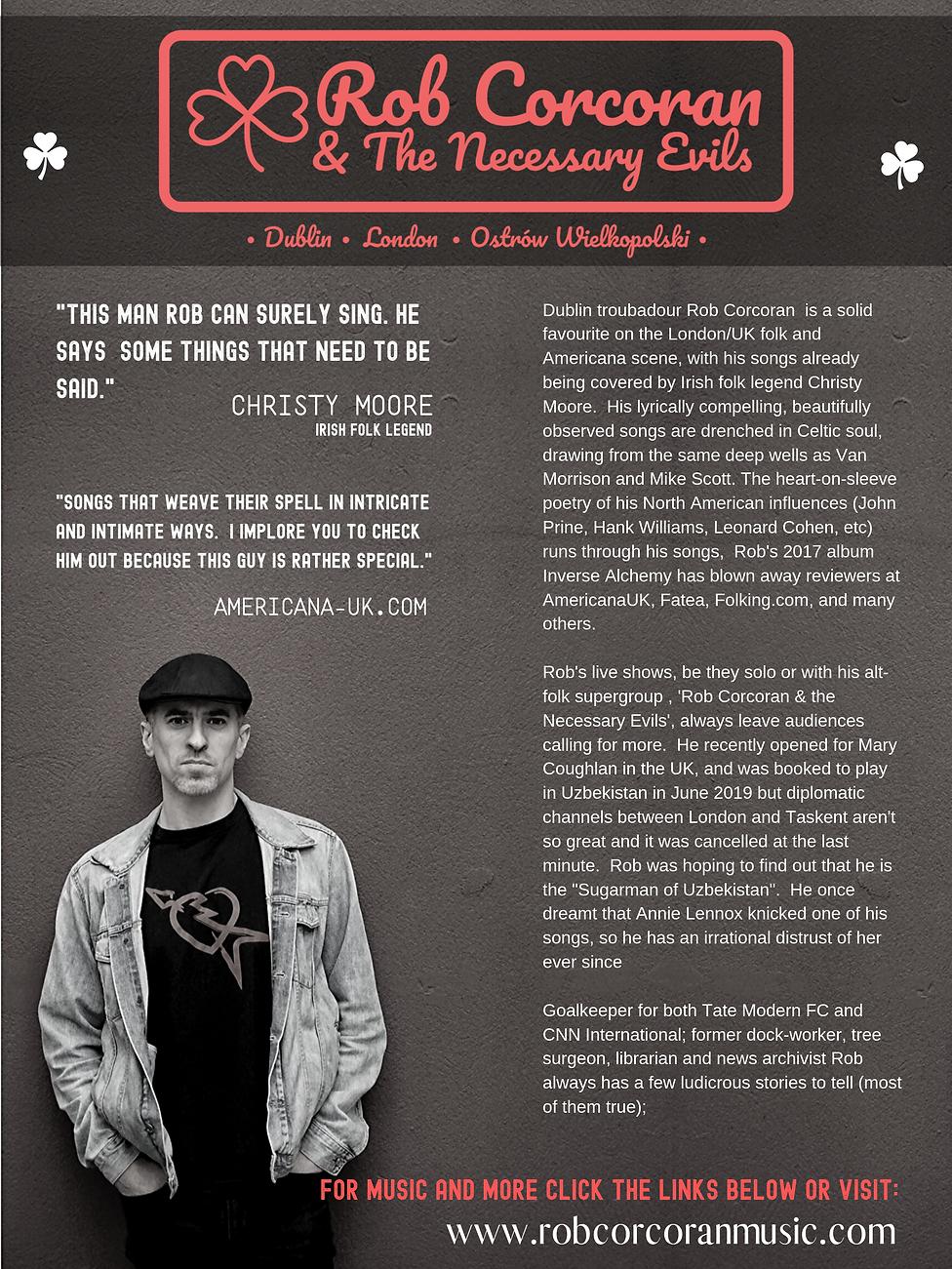 BIO FOR Dublin troubadour Rob Corcoran (