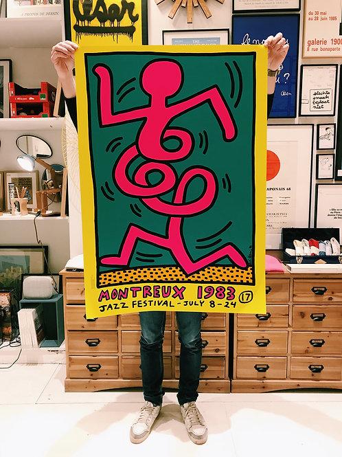 Serigraphie Keith Haring Festival de Jazz de Montreux 1983 Jaune