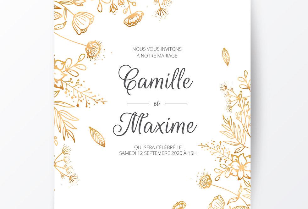 Impression 100 cartes : Mariage Camille et Max