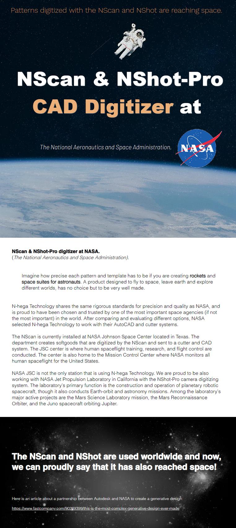 NScan & NShot-Pro CAD digitizers at NASA (the National Aeronautics and space Administration).