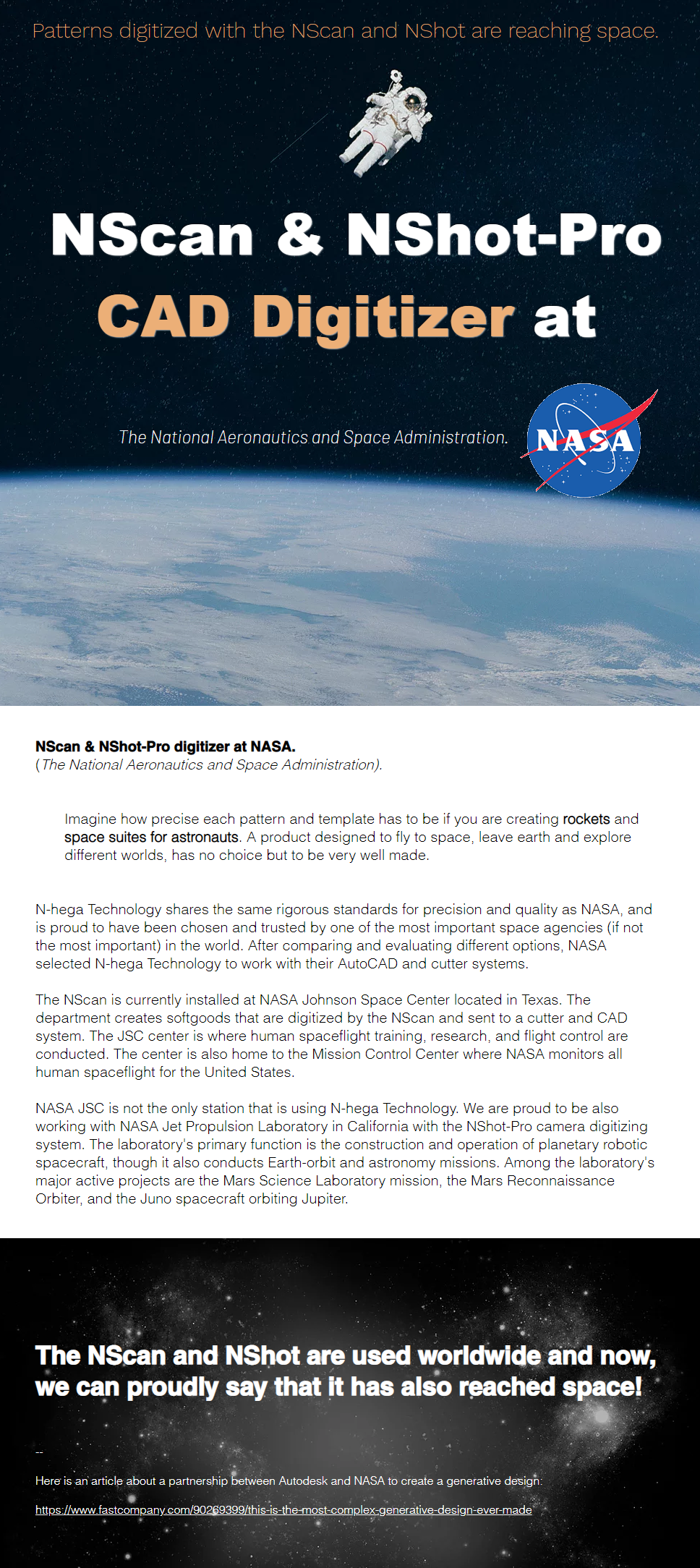 NASA uses the NScan and NShot Pro digitizers.