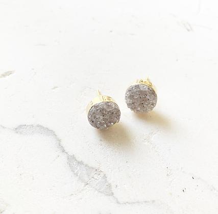 Neutral Druzy Stud Earrings