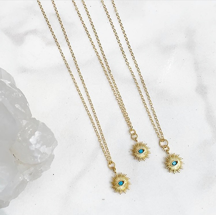 Stay Golden Turquoise Coin Necklace