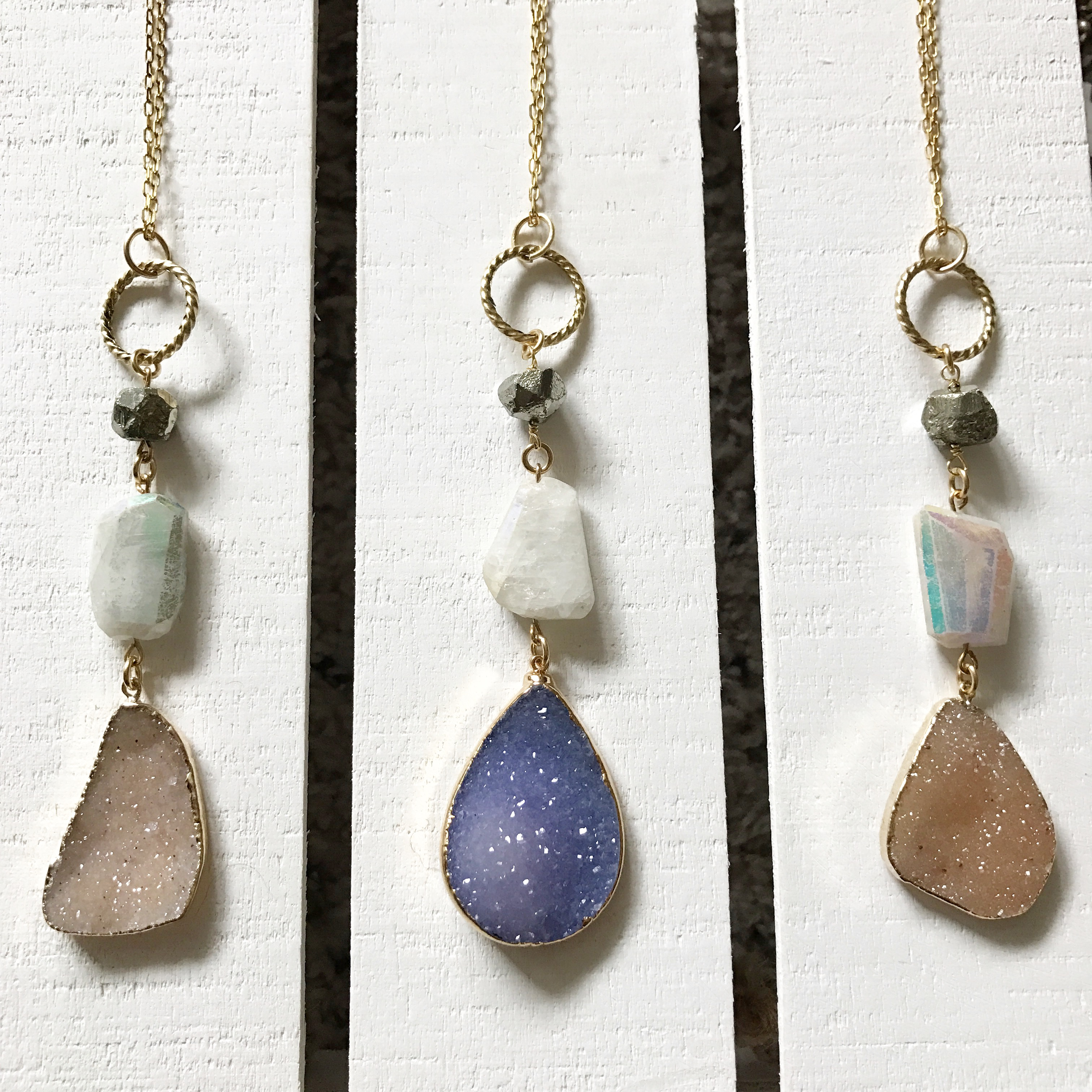 Druzy Gemstone, along with Pyrite and AB Quartz.